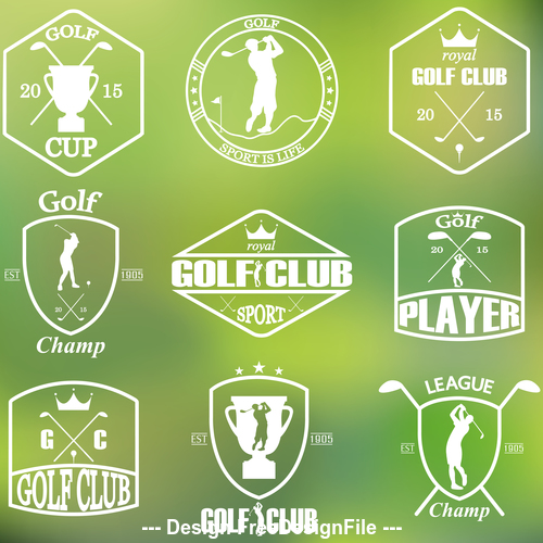 Green background transparent golf silhouette card vector