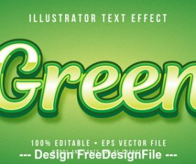 Green editable font effect text vector