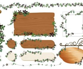 Green leaf and wooden board frame vector