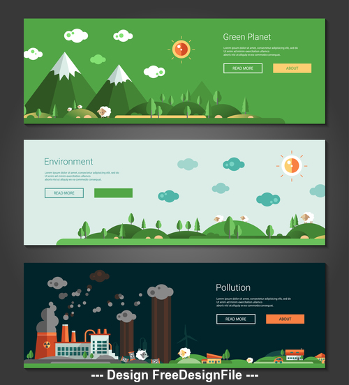 Green plant and industrial pollution banner vector