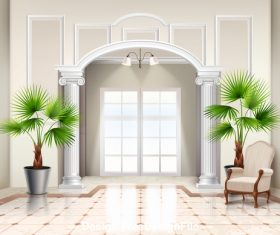 Green plants in the living room vector