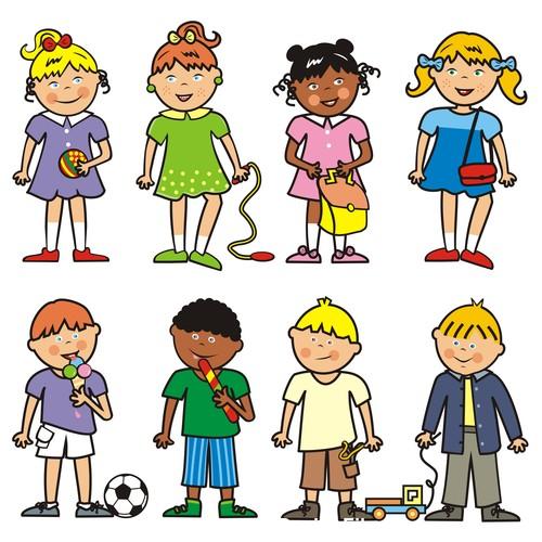 Group of children fotolia vector