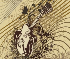 Grunge guitar musical instrument vector