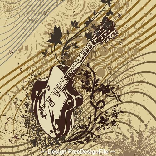 Grunge guitar musical instrument vector