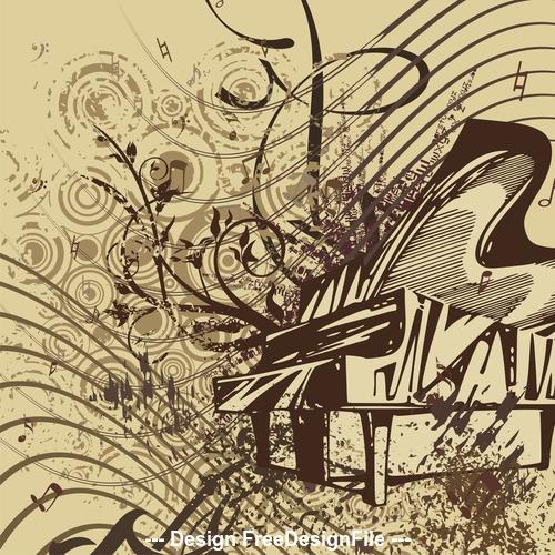 Grunge music instrument vector
