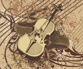 Grunge violin music instrument vector