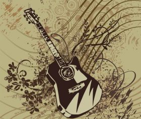 Guitar and sheet music grunge music instrument vector