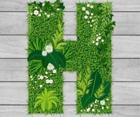 H floral letters vector