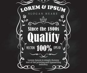 Hand drawn frame label retro blackboard banner vector