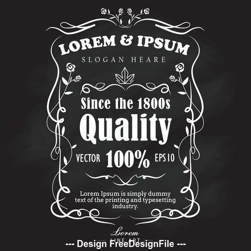 Hand drawn frame label retro blackboard banner vector