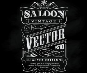 Hand drawn western frame label blackboard typography border vector