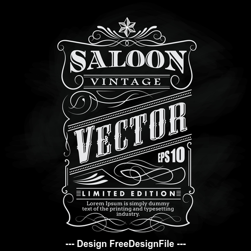 Hand drawn western frame label blackboard typography border vector