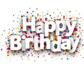 Happy birthday font and confetti vector