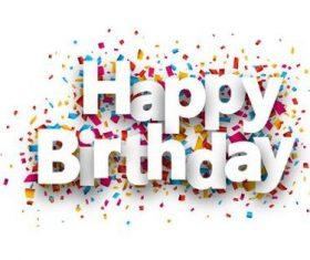 Happy birthday font and confetti vector