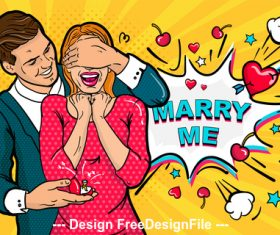 Happy couple cartoon illustration vector