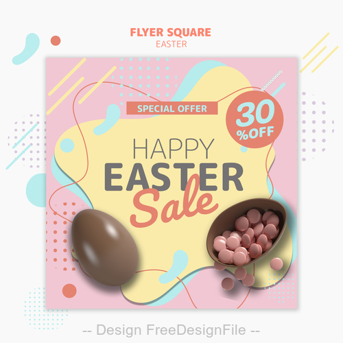 Happy easter sale flyer psd template