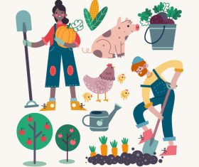 Happy farmer cartoon illustration vector
