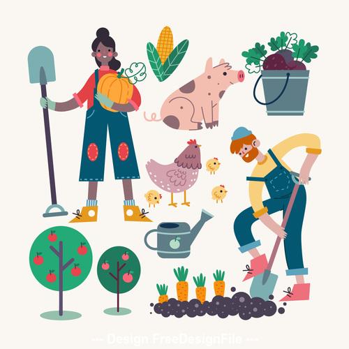 Happy farmer cartoon illustration vector