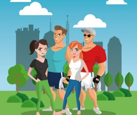 Happy fitness men and women vector
