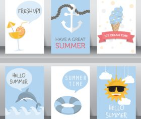 Happy summer card collection vector