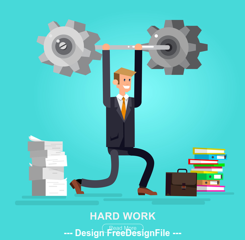 Hard work cartoon illustration vector