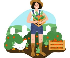 Harvest organic vegetables cartoon illustration vector