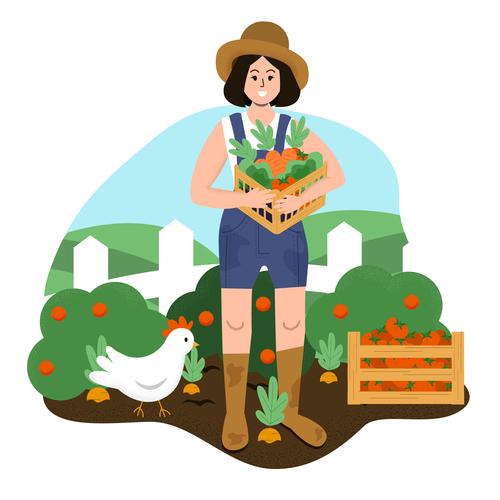 Harvest organic vegetables cartoon illustration vector