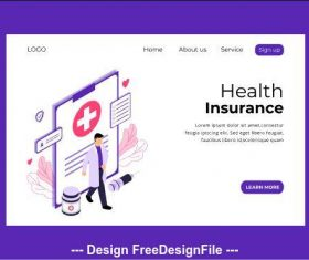 Health insurance page vector