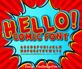 Hello comic font vector