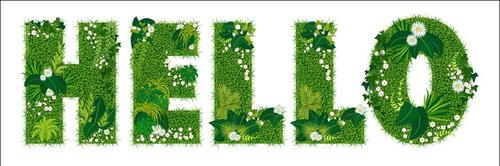 Hello floral letters vector