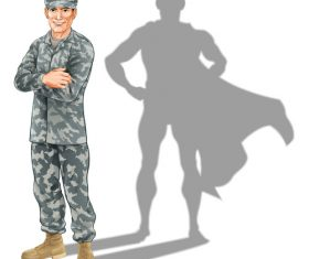 Hero soldier shadow vector