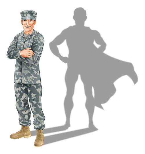 Hero soldier shadow vector