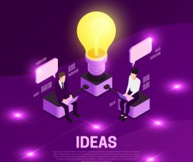 Ideas isometric symbols vector