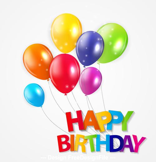 Illustration balloon background birthday card vector