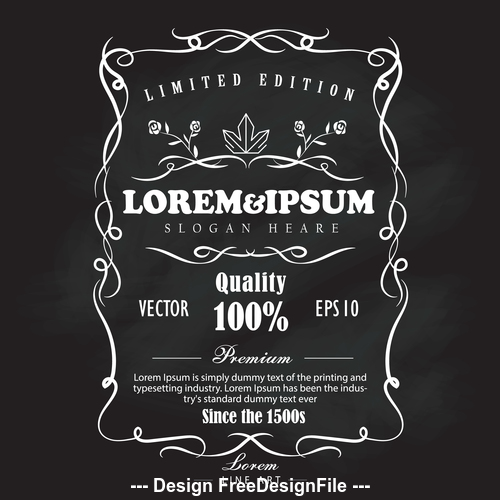 Illustration hand drawn frame label blackboard vector