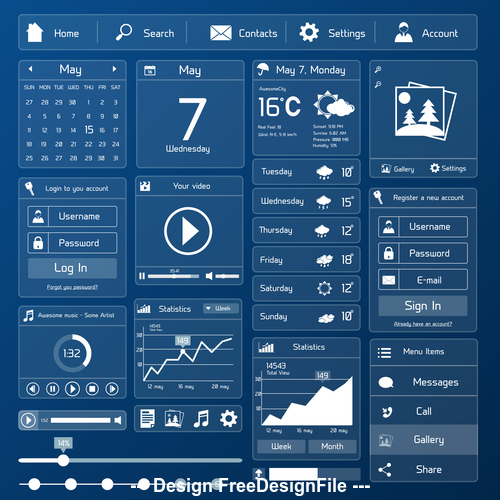 Interface design elements vector