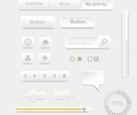 Interface paper cut button design element vector