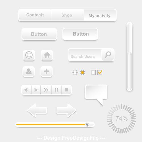 Interface paper cut button design element vector