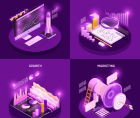 Isometric symbols collection vector