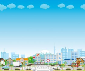 Japan Fuji mountain and city cartoon vector