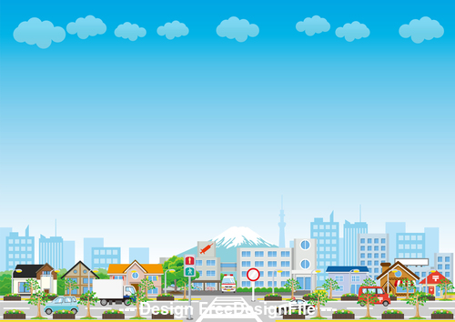 Japan Fuji mountain and city cartoon vector
