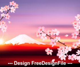 Japanese cherry blossom season vector