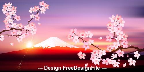 Japanese cherry blossom season vector