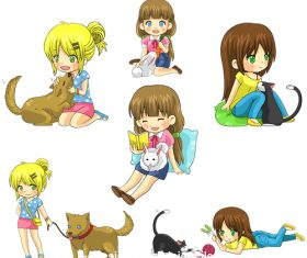 Japanese comic girl and pet vector
