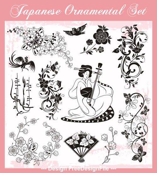 Japanese element traditional ornaments vector