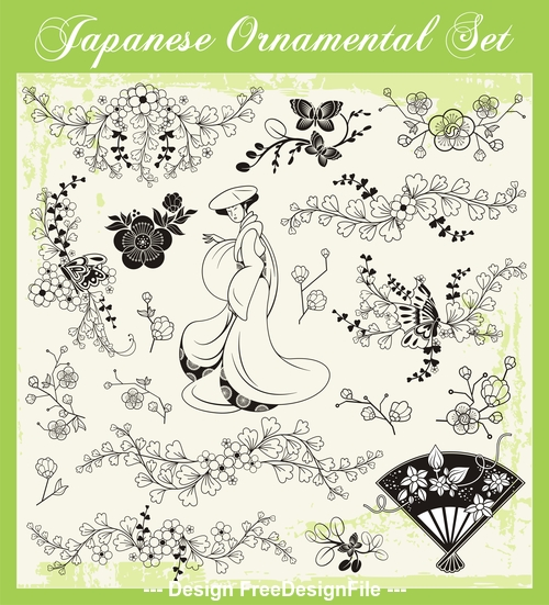 Japanese traditional illustration vector
