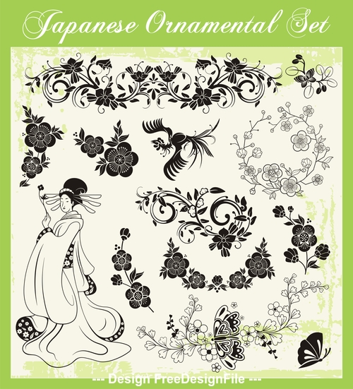 Japanese traditional travel spring vector