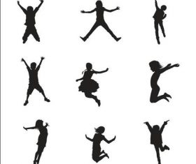 Jumping people silhouette vector