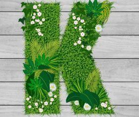 K floral letters vector