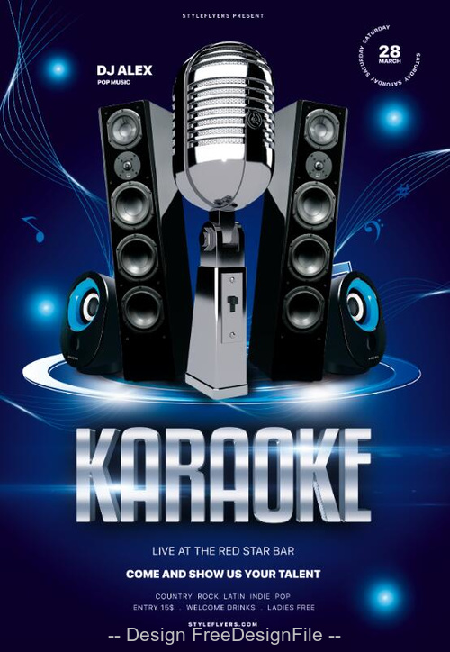 Karaoke Party PSD Flyer Template